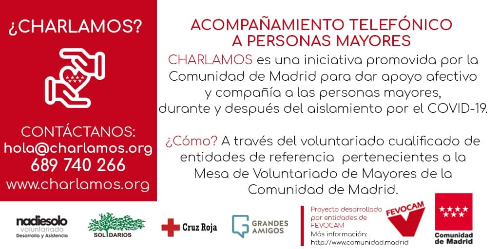 Nace 'Charlamos', una iniciativa de acompañamiento telefónico a mayores en soledad, impulsada por varias entidades sociales y la Comunidad de Madrid
