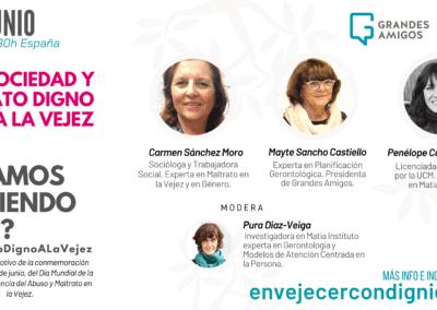 Matia Fundazioa y Grandes Amigos analizan el trato a las personas mayores en una webinar con expertas el 15J, Día del Abuso y Maltrato en la Vejez